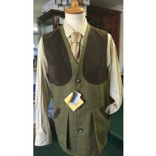 Bonart Tweed Shooting Waistcoat With Alacantra Trim 100% British Wool